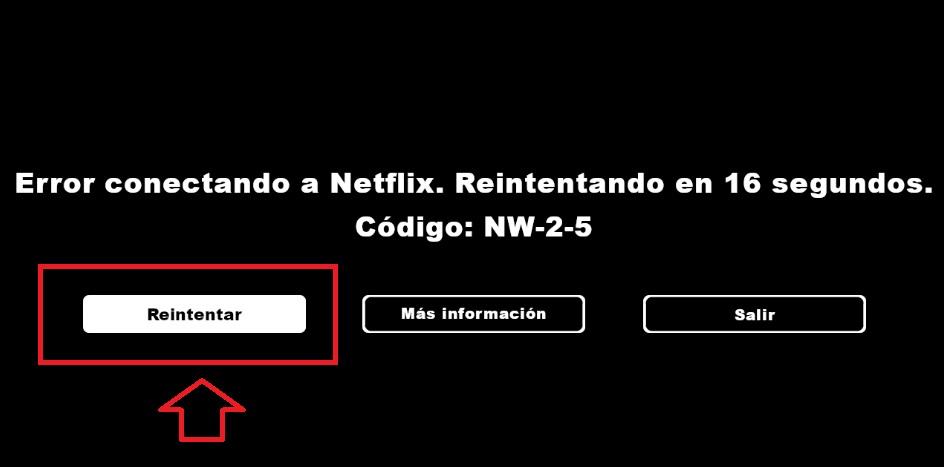 Reintentar conexión a Netflix