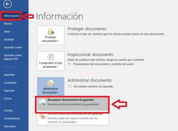 Cómo recuperar un archivo no guardado de Word