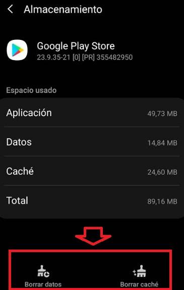 Borrar caché y datos de Google Play