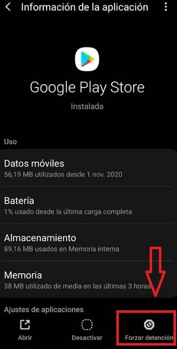 Forzar la detención de Google Play