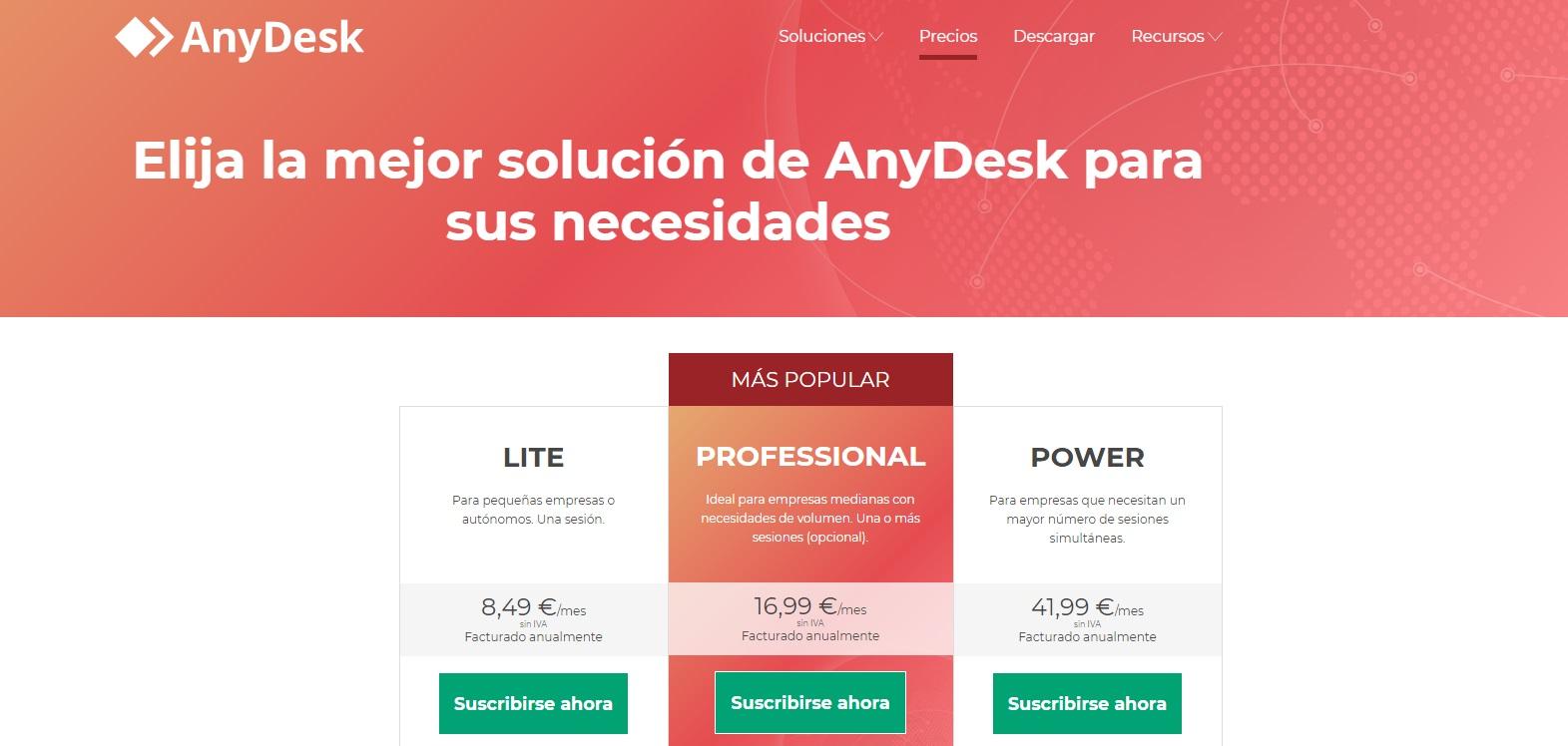 Tipos de cuenta de AnyDesk