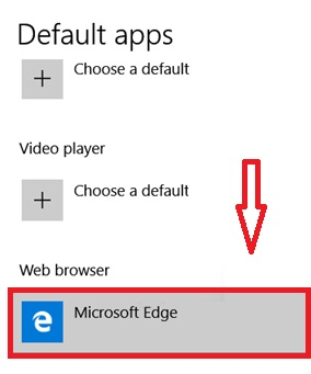 Default browser in Windows 10