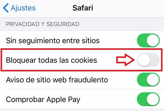 Cookies activadas en Safari para iOS
