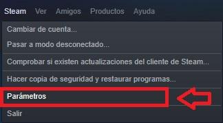 Menú de parámetros de Steam
