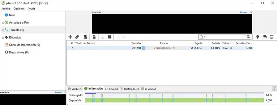 Interfaz de uTorrent