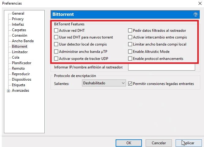 Opciones de BitTorrent