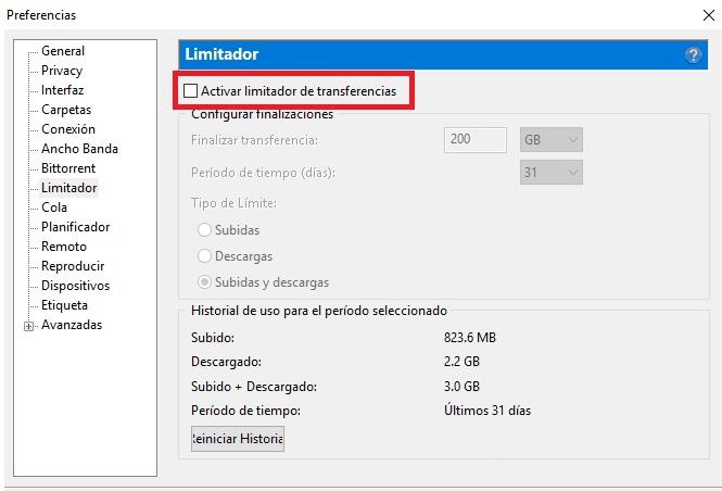 Limitador de transferencias de uTorrent