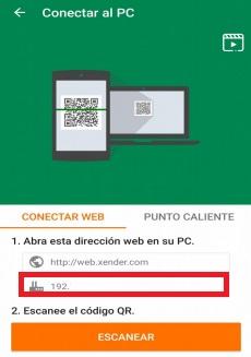 Dirección IP de Xender