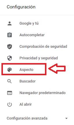 Configuración de aspecto de Chrome