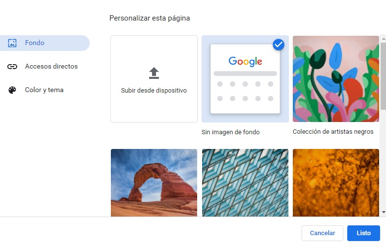 Personaliza el fondo de Chrome