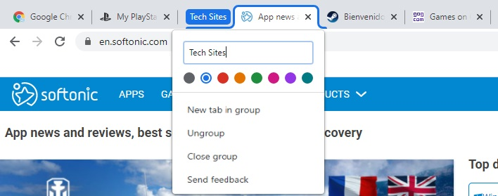Add group tabs in Chrome