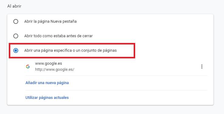 Cambiar la página de inicio en Chrome