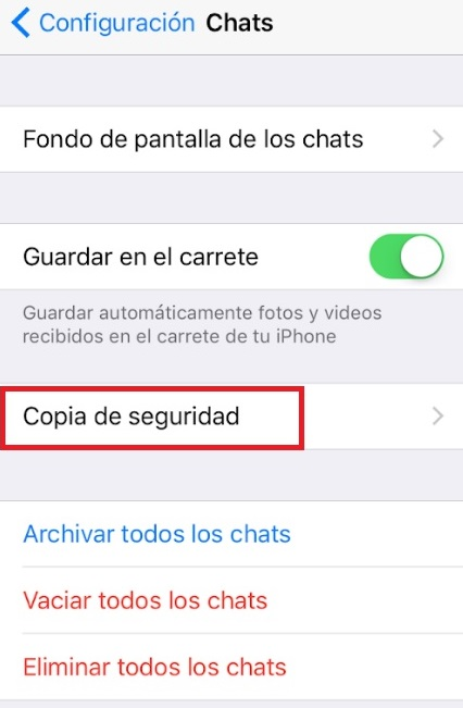 Copia de seguridad de WhatsApp en iPhone