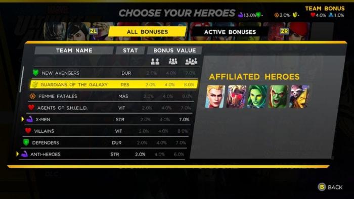 Marvel Ultimate Alliance 3 team bonuses