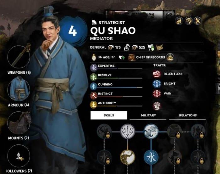 Total War: Three Kingdoms character attributes