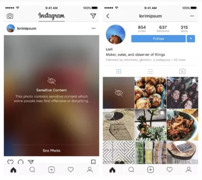 Instagram sensitive content