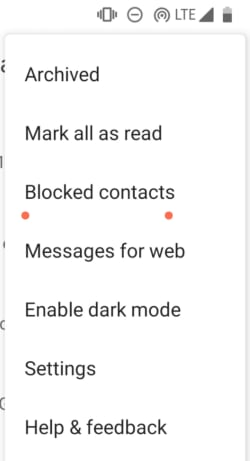 Blocked contacts on Android