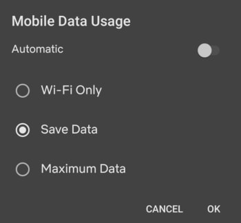 Mobile Netflix data usage screen