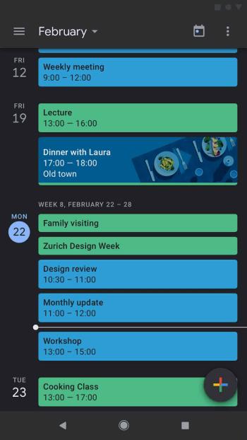 Google dark mode on calendar app