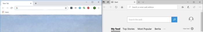 What Edge looks like compared to Chrome