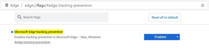 Microsoft Edge tracker prevention