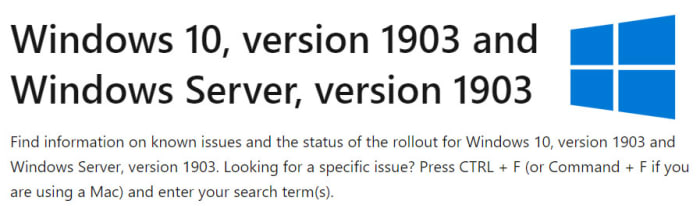 Windows 10 version 1903 update errors