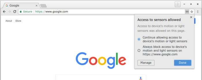 New Chrome sensor control