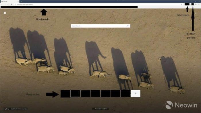 New screenshot of Microsoft Edge homepage