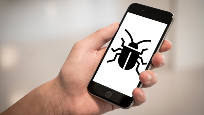 a bug on a mobile phone