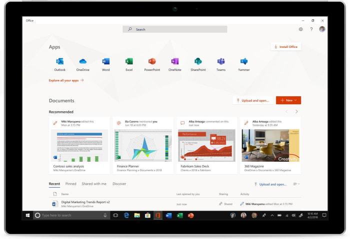 New Microsoft Office app screenshot