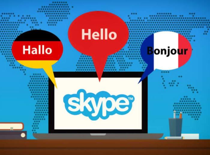 Skype speaking different languages