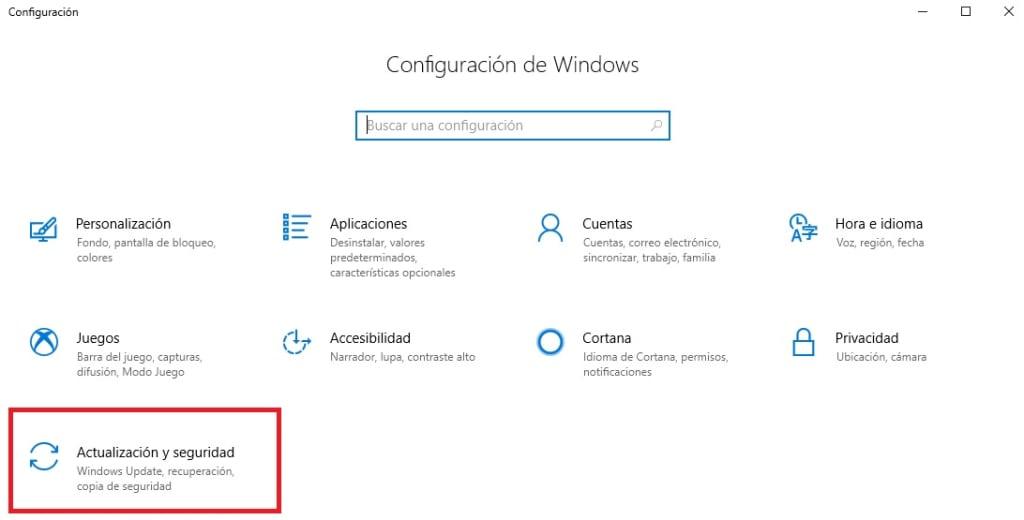 Menú de Configuración de Windows 10