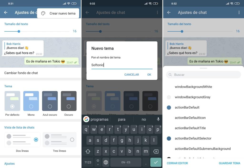 Interfaz de Telegram