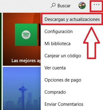 Interfaz de actualizaciones de la Microsoft Store