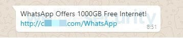 Fake WhatsApp message about 1000GB of free data