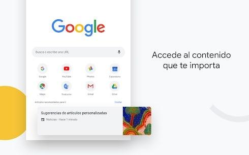 Interfaz de Google Chrome para Android