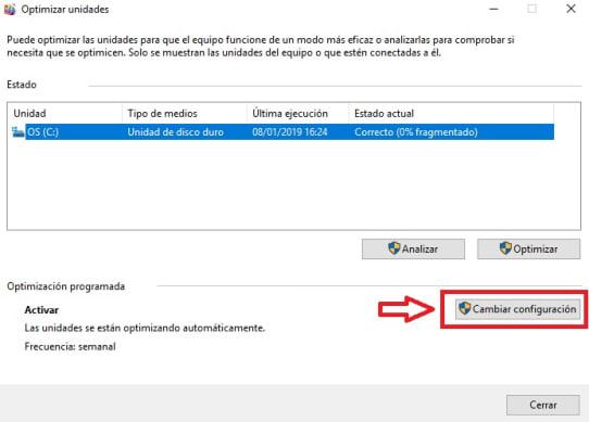 Cómo desfragmentar el disco con Windows 10