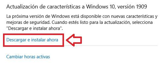 Instalación de nuevas características de Windows 10