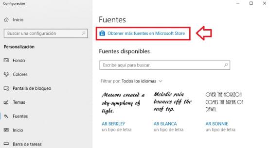 Cómo instalar fuentes en Windows 10