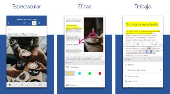 Interfaz de Word para Android