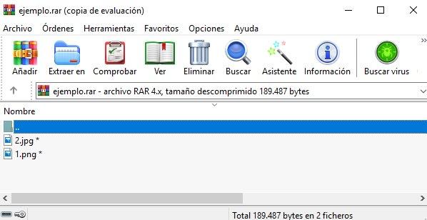 Interfaz de WinRAR