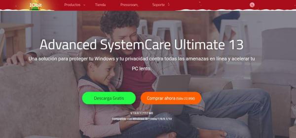 Página de Advanced SystemCare Ultimate 13