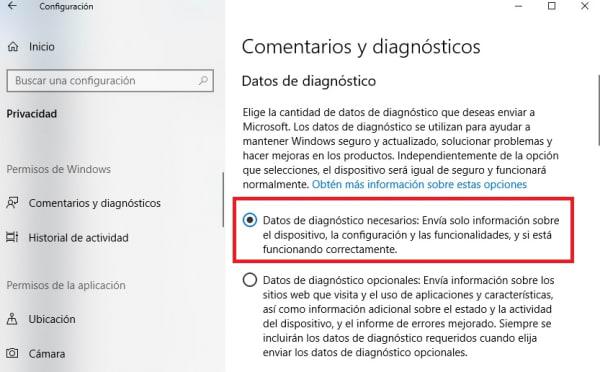 Comentarios de diagnóstico de Windows 10
