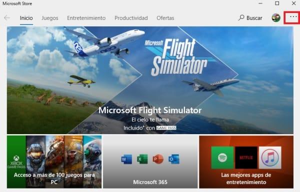 Interfaz de la tienda de Microsoft