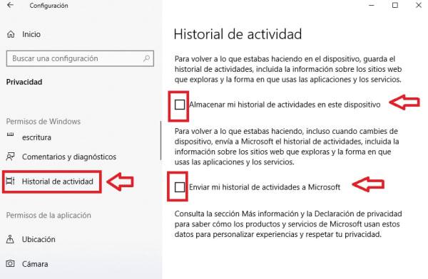 Historial de actividad de Windows 10