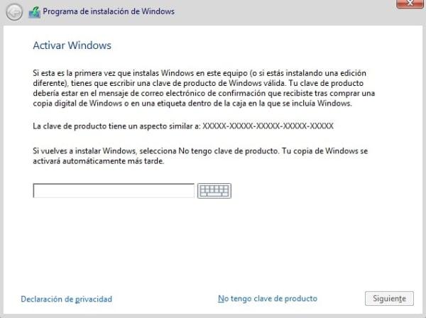 Mensaje activación de Windows 10
