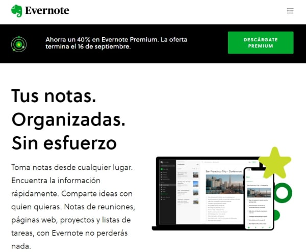 Página de Evernote