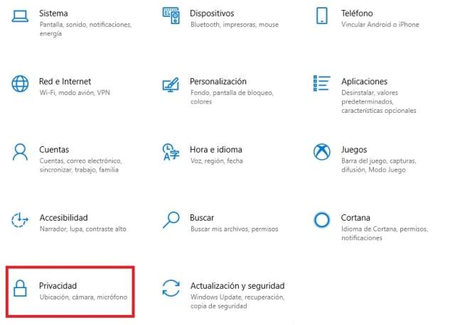 Cómo acceder al menú de Privacidad en Windows 10