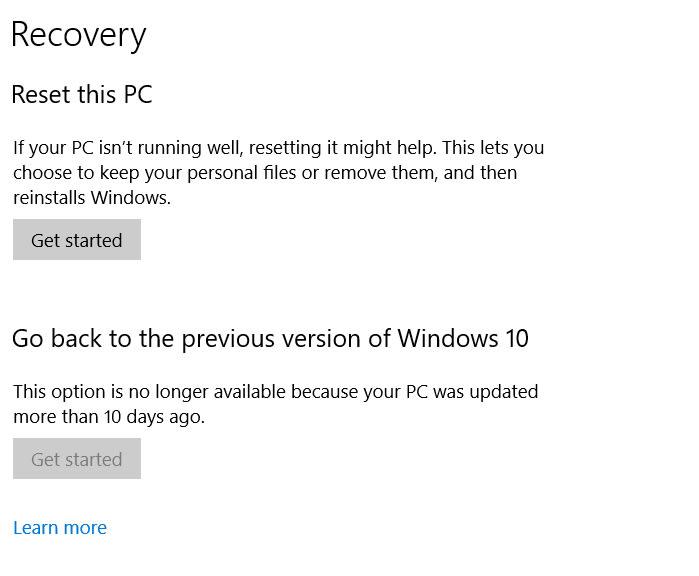 reset Windows 10 updates