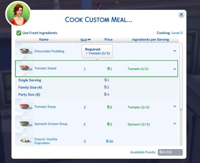 Mod Custom Food Interactions para Los Sims 4